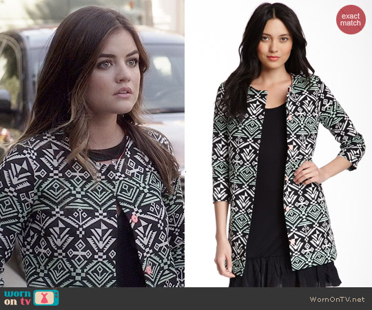 Flying Tomato & Jealous Tomato Jacquard Aztec Print Jacket worn by Lucy Hale on PLL