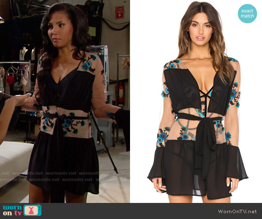 For Love & Lemons Darla Silk Robe worn by Felisha Cooper on The Bold & the Beautiful