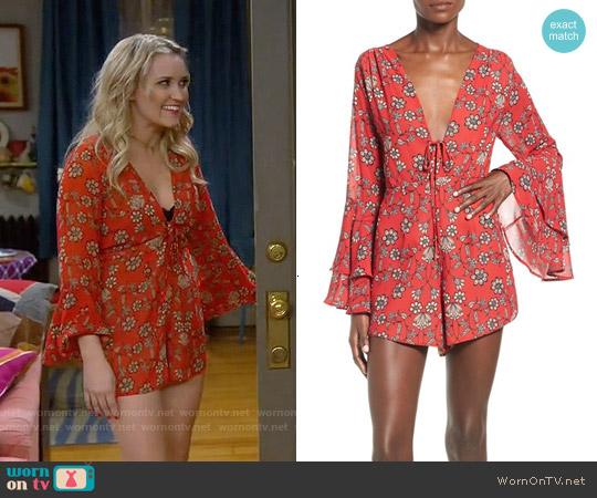 For Love & Lemons Pia Red Floral Romper worn by Emily Osment on Young & Hungry