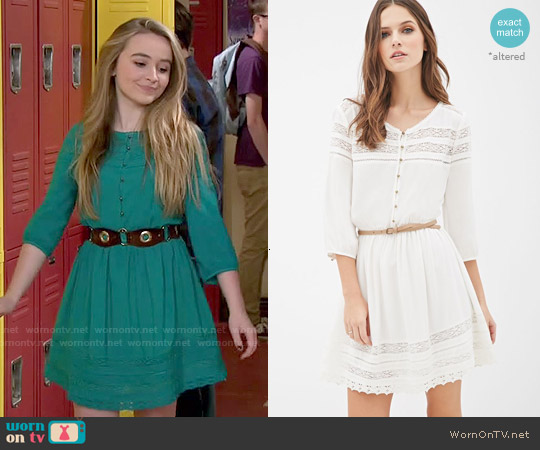 Forever 21 Belted Crochet-Paneled Peasant Dress worn by Sabrina Carpenter on Girl Meets World