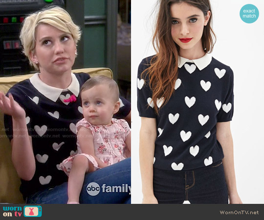 Forever 21 Collared Heart-Print Sweater worn by Chelsea Kane on Baby Daddy