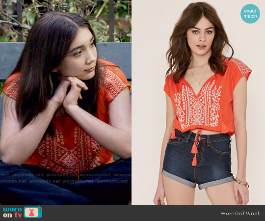 Forever 21 Embroidered Gauze Top worn by Rowan Blanchard on Girl Meets World