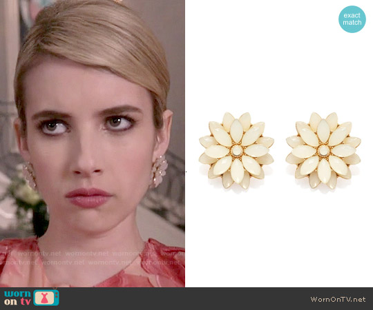 Forever 21 Faux Gem Flower Studs worn by Chanel Oberlin on Scream Queens