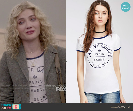 Forever 21 Rive Gauche Ringer Tee worn by Skyler Samuels on Scream Queens