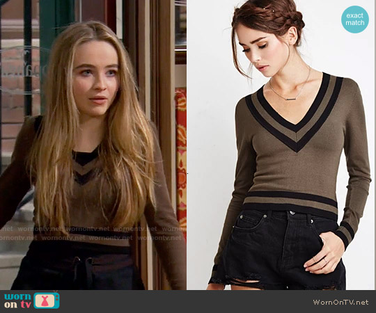 Forever 21 Varsity-Striped Crop Sweater worn by Sabrina Carpenter on Girl Meets World