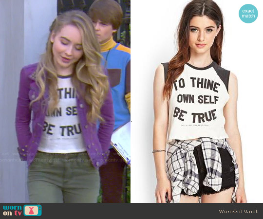 Forever 21 Be True Cutoff Tee worn by Sabrina Carpenter on Girl Meets World
