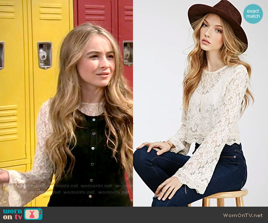 Forever 21 Bell Sleeved Lace Crop Top worn by Sabrina Carpenter on Girl Meets World