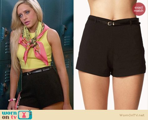 Forever 21 Belted High Waisted Shorts worn by Carly Chaikin on Suburgatory