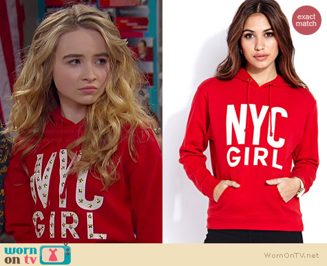 Forever 21 Big City Girl Hoodie worn by Sabrina Carpenter on Girl Meets World