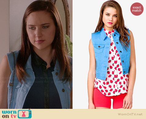 Forever 21 Blue Colored Denim Vest worn by Haley Ramm on Chasing Life