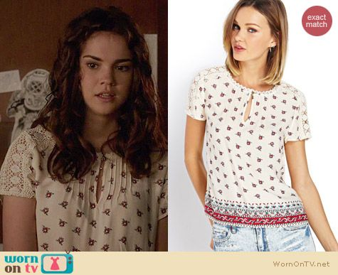 Forever 21 Boho Crochet Floral Top worn by Maia Mitchell on The Fosters