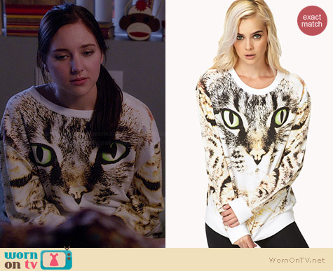 Forever 21 Bold Cat Sweatshirt worn by Haley Ramm on Chasing Life