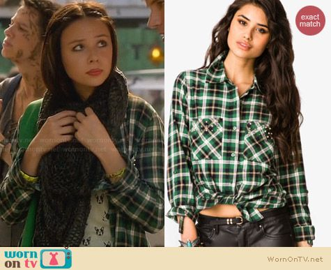 Forever 21 Bolt Studded Plaid Shirt worn by Malese Jow on Star-Crossed