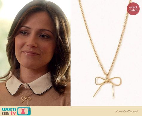 Forever 21 Bow Charm Necklace worn by Italia Ricci on Chasing Life