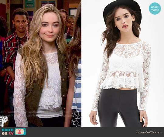 Forever 21 Boxy Lace Ruffle Top worn by Sabrina Carpenter on Girl Meets World
