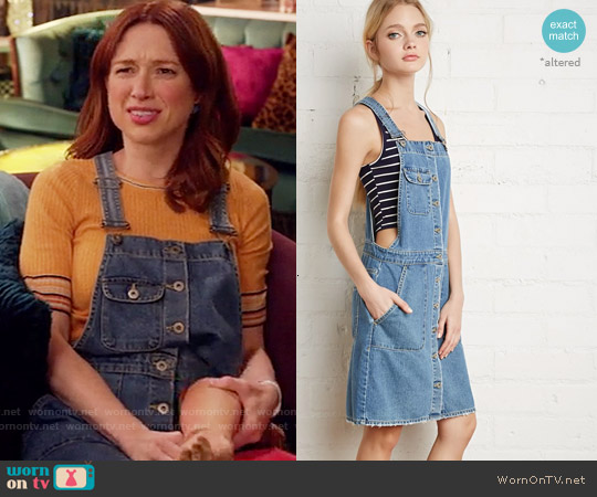 Forever 21 Buttoned Denim Overall Dress worn by Ellie Kemper on Unbreakable Kimmy Schmidt