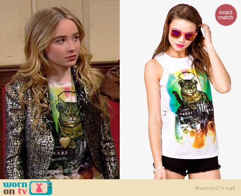 Forever 21 Cat Party Muscle Tee worn by Sabrina Carpenter on Girl Meets World