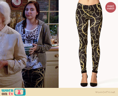 Forever 21 Chain Print Leggings worn by Haley Ramm on Chasing Life