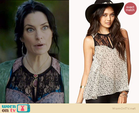 Forever 21 Chic Paisley Blouse worn by Madchen Amick on Witches of East End