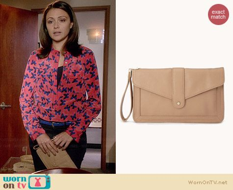 Forever 21 Cocktail Hour Faux Leather Clutch worn by Italia Ricci on Chasing Life