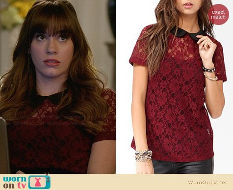 Forever 21 Collared Lace Top worn by Christa Allen on Revenge