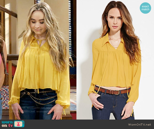 Forever 21 Contemporary Collared Blouse in Mustard worn by Sabrina Carpenter on Girl Meets World
