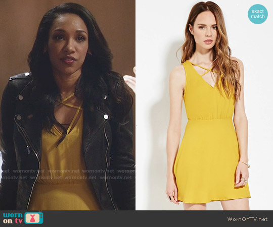Forever 21 Contemporary Strappy Front Dress in Mustard worn by Candice Patton on The Flash