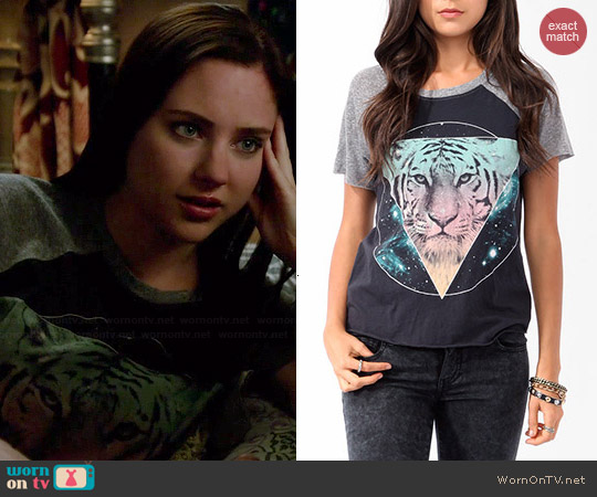 Forever 21 Cosmic Tiger Raglan Tee worn by Haley Ramm on Chasing Life