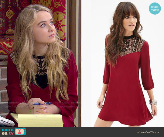 Forever 21 Crochet Panel Shift Dress worn by Sabrina Carpenter on Girl Meets World