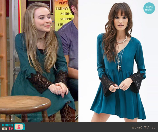 Forever 21 Crochet Sleeve Babydoll Dress worn by Sabrina Carpenter on Girl Meets World