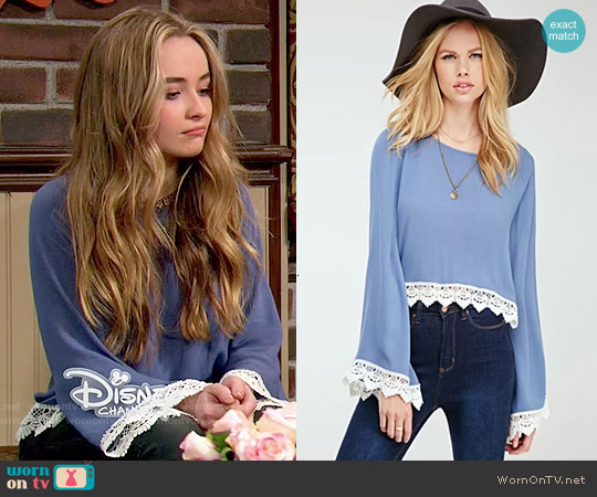 Forever 21 Crochet-Trimmed Bell Sleeve Top worn by Sabrina Carpenter on Girl Meets World