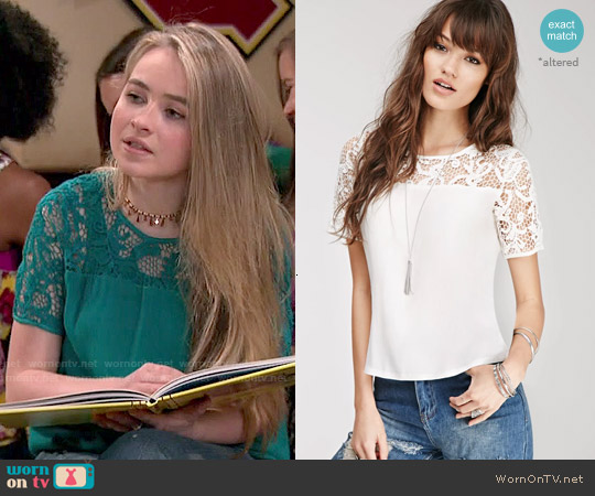 Forever 21 Crochet Yoke Crepe Tee worn by Sabrina Carpenter on Girl Meets World