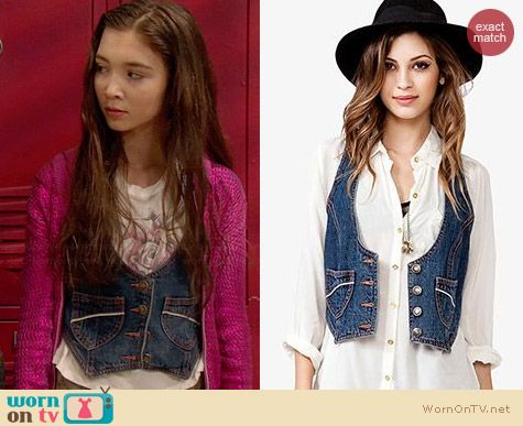 Forever 21 Cropped Denim Vest worn by Rowan Blanchard on Girl Meets World