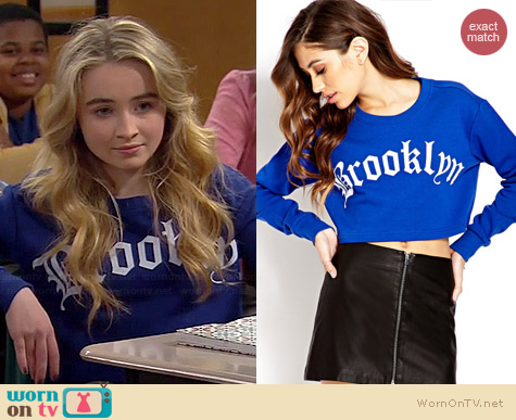 Forever 21 Cropped Brooklyn Sweatshirt worn by Sabrina Carpenter on Girl Meets World