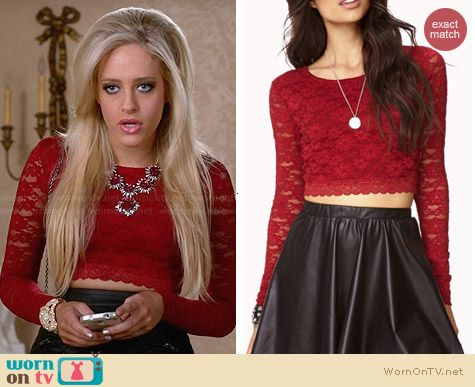 Forever 21 Cropped Lace Top in Red worn by Carly Chaikin on Suburgatory