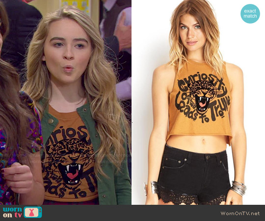 Forever 21 Curious Leopard Graphic Tank worn by Sabrina Carpenter on Girl Meets World