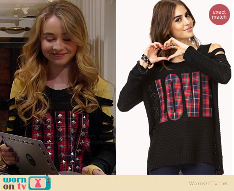 Forever 21 Grunge-Girl Love Sweater worn by Sabrina Carpenter on Girl Meets World