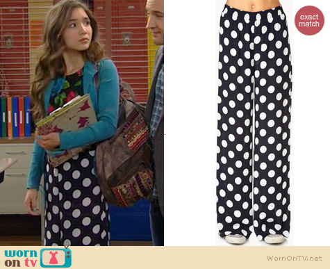 WornOnTV: Riley's rose print crop top, polka dot pants and ...