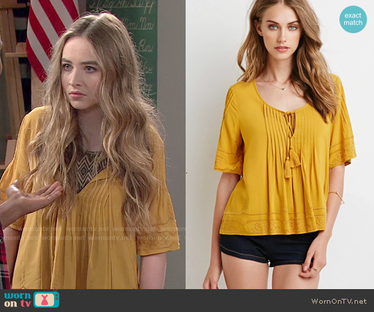 Forever 21 Embroidered Pintucked Blouse in Mustard worn by Sabrina Carpenter on Girl Meets World