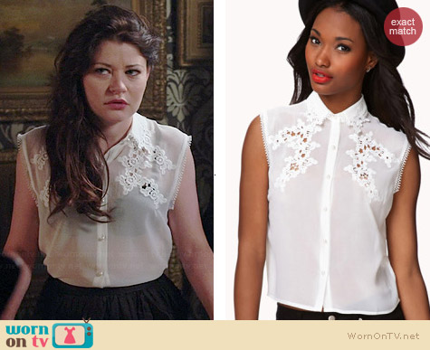 Forever 21 Embroidered Sleeveless Shirt worn by Emilie de Ravin on OUAT