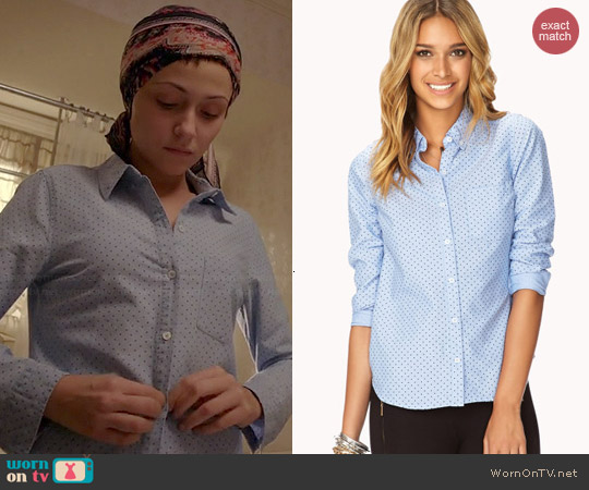 Forever 21 Essential Polka Dot Oxford Shirt worn by Italia Ricci on Chasing Life