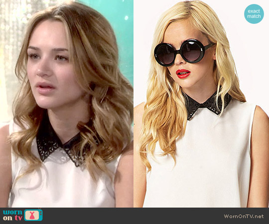 Forever 21 Embroidered Collar Top worn by Hunter King on The Young & the Restless