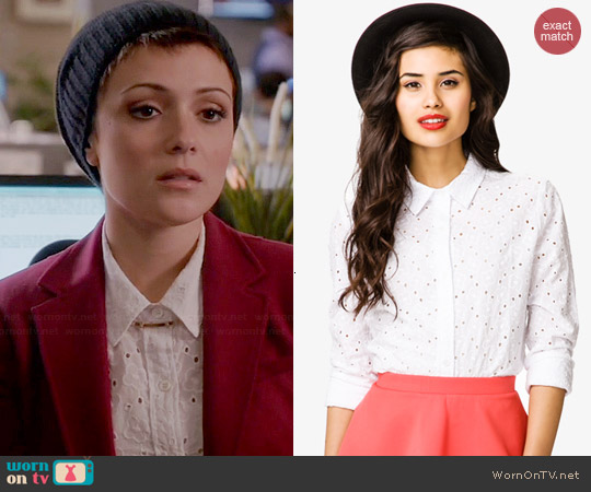 Forever 21 Eyelet Shirt worn by Italia Ricci on Chasing Life