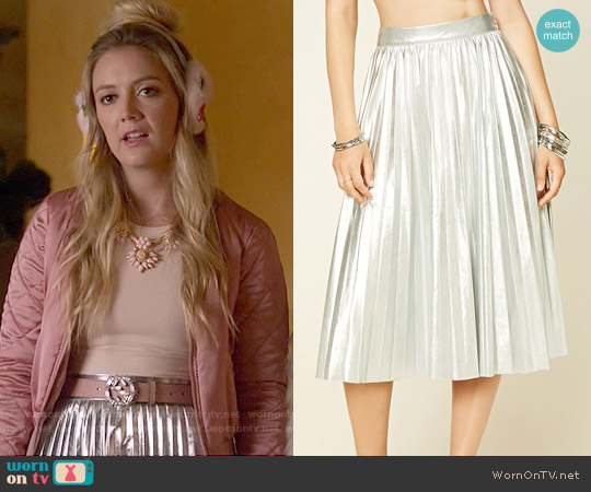 Forever 21 Faux Leather Midi Skirt worn by Chanel #3 on Scream Queens