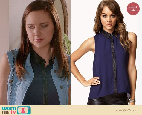 Forever 21 Faux Leather Trimmed Chiffon Shirt worn by Haley Ramm on Chasing Life