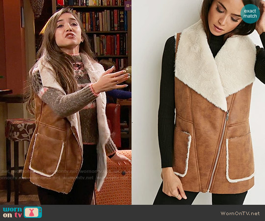 Forever 21 Faux Shearling Moto Vest worn by Riley Matthews on Girl Meets World