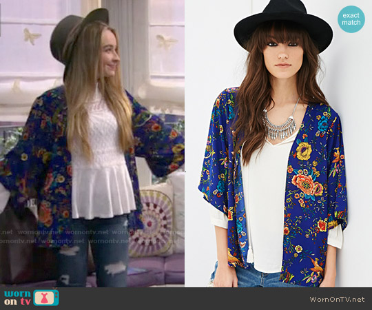 Forever 21 Floral & Bird Print Kimono worn by Maya Hart on Girl Meets World