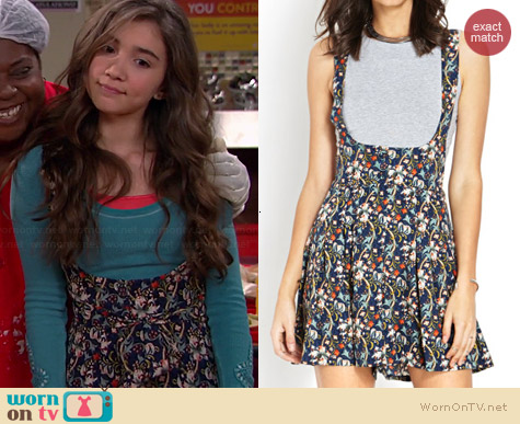 Forever 21 Floral Crossback Overalls worn by Rowan Blanchard on Girl Meets World