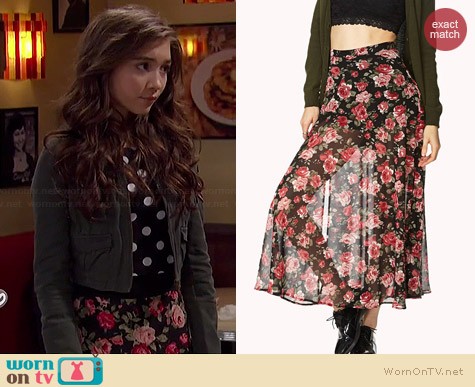 Forever 21 Floral Fantasy Midi Skirt worn by Rowan Blanchard on Girl Meets World