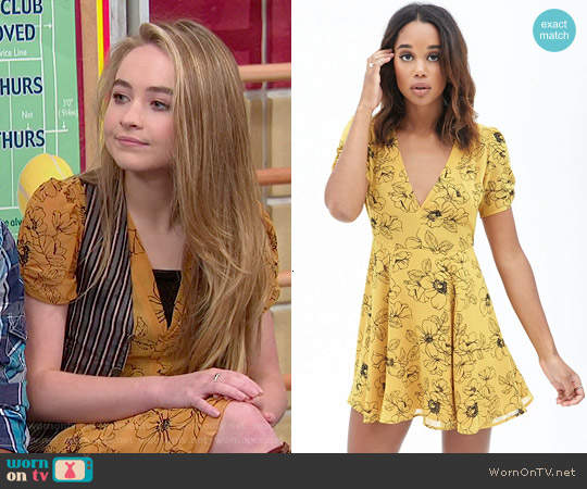 Forever 21 Mustard Floral Fit & Flare Dress worn by Sabrina Carpenter on Girl Meets World